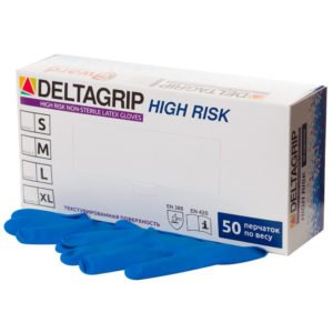 Перчатки латекс неопуд пов. прочн.синие М (25пар) /250/ High risk GWARD DELTAGRIP