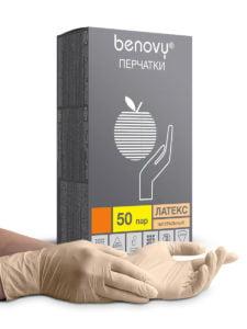 Перчатки (латексные) неопудренные М гладкие Benovy беж.(50пар)