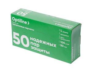 Перчатки ВИНИЛ.неопудр.,L /100шт, 50 пар/1000/ Optiline