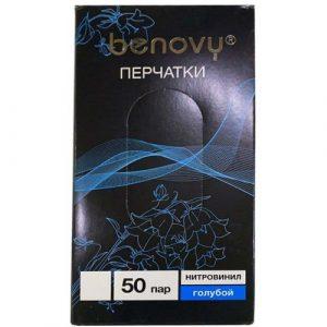 Перчатки винил/нитрил, М голубые /100шт,50пар/10/BENOVY